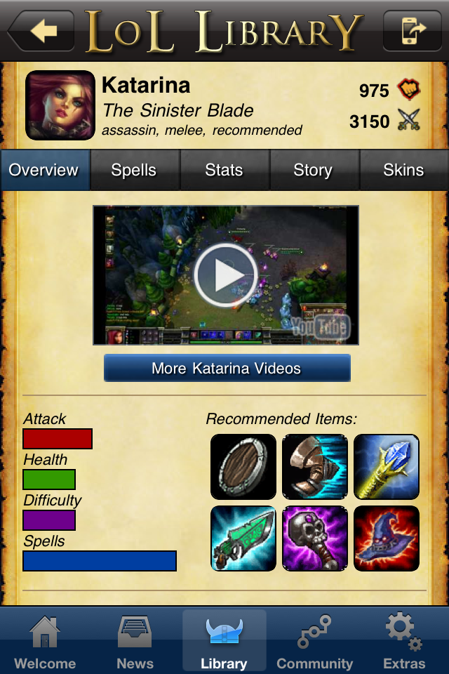 Screenshot LoL Library, Guide to League of Legends